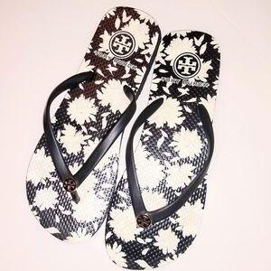 Tory Burch Black White Floral Flip Flop Sandals